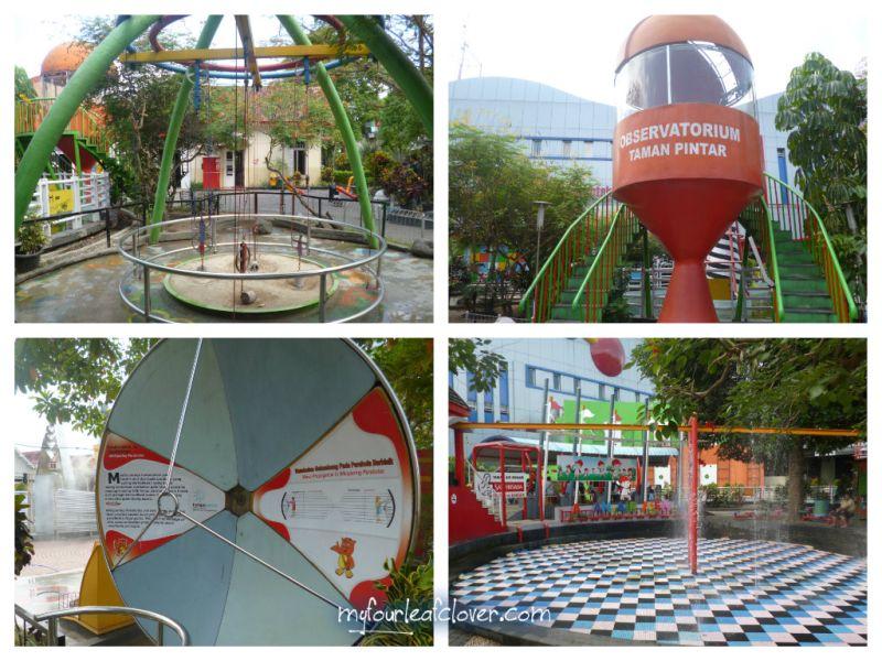 Sistem Katrol, Observatorium, Parabola Berbisik, Taman Air. Kalau bawa baju ganti, boleh main basah-basahan di Taman Air.