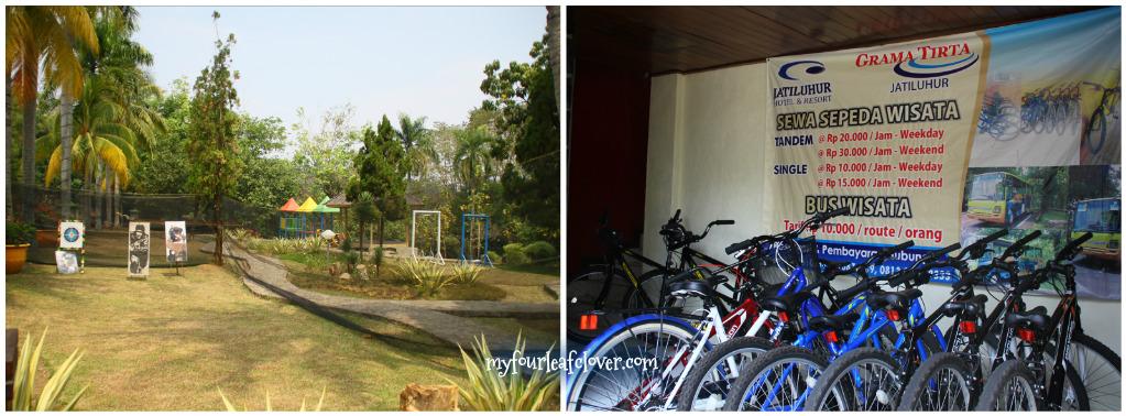 Ada playground dan arena tembak (waduuh..). Kita bisa sewa sepeda juga di sini. Tapi lumayan banget genjotnya secara jalan di kawasan ini naik turun :D