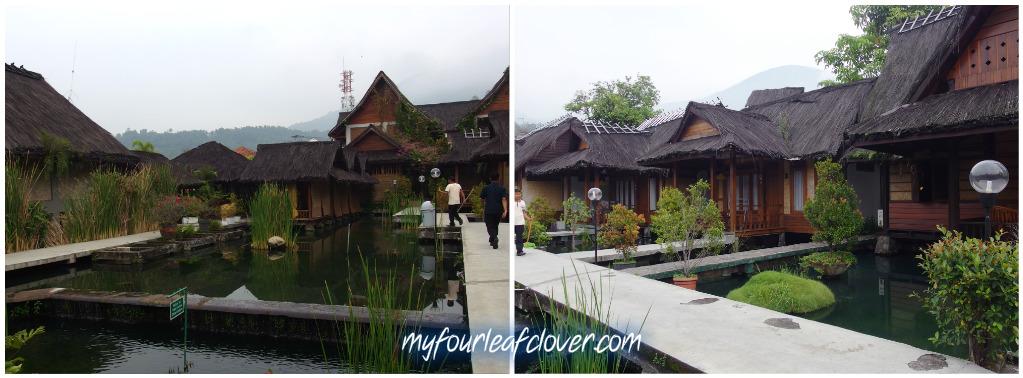 Gambar sebelah kiri adalah Villa Kawung (bangunan 2 lantai), gambar sebelah kanan adalah Bungallow Pondok Kalapa