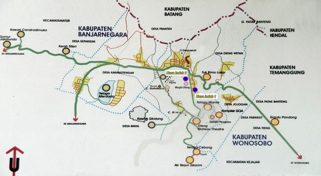 Ini adalah map yang diambil dari nusaindahdieng.com. Kira-kira seperti ini wisata-wisata yang ada di seiktar Dieng.